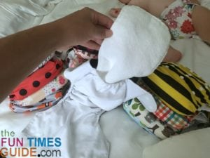 You can see how the cloth diaper insert fits inside of the cloth diaper pocket - Alva Baby cloth diapers.