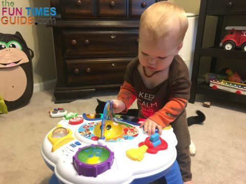 The Baby Einstein Discover Music activity table captivates the attention of my 10-month-old.