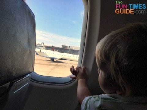 My son enjoyed learning about airplanes on his first plane ride.
