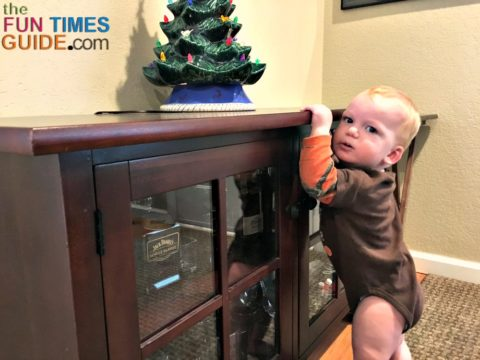 Before you place items on low pieces of furniture, consider how easy they will be for your curious toddler to grab.