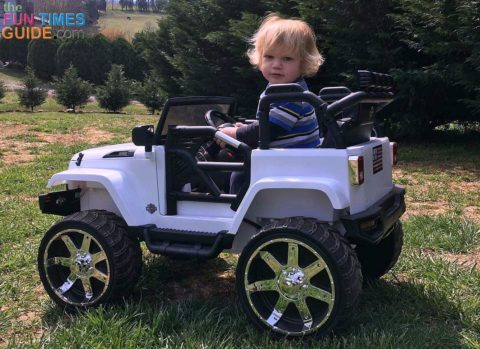 The only bummer is this ride-on Jeep slows way down on any sort of an incline.