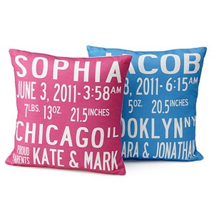 birth announcement pillows - baby shower gifts