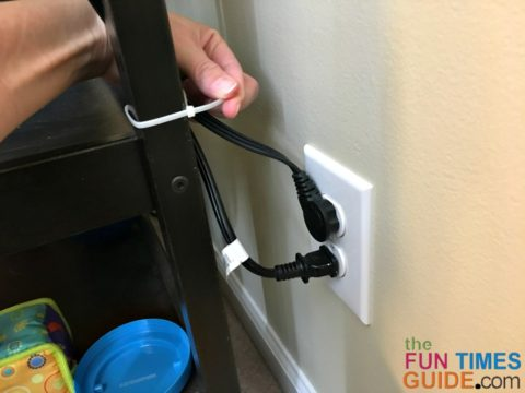 Cable ties and zip ties are a simple way to secure electrical cords when childproofing your home.