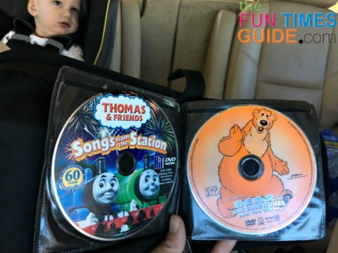 Kid-friendly DVD movies are great when traveling with a toddler in the car!