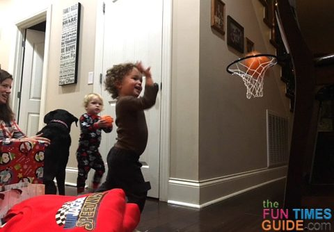 Our nephew shooting hoops into the Franklin Future Champs over-the-door basketball hoop.