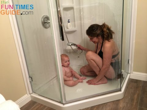 Our shower is the perfect size for baby and I to shower together.
