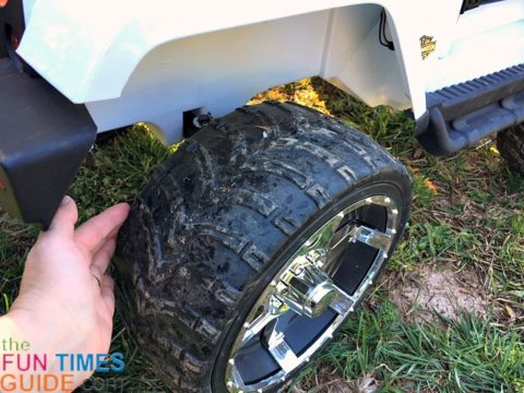 This ride-on Jeep has rugged tires instead of plastic ones.