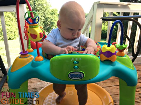 the oball exersaucer entertains my baby and teaches him new skills