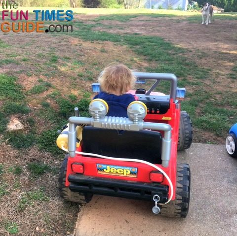 My son riding his Power Wheels Jeep ride-on-toy.