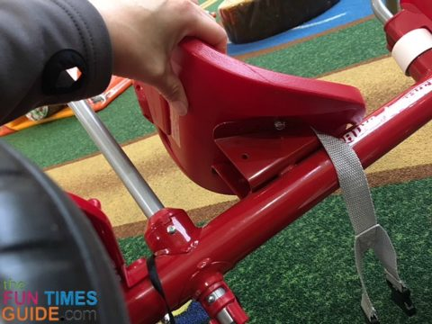 The Radio Flyer tricycle has a 3-point adjustable seat - which can slide forward or backward.