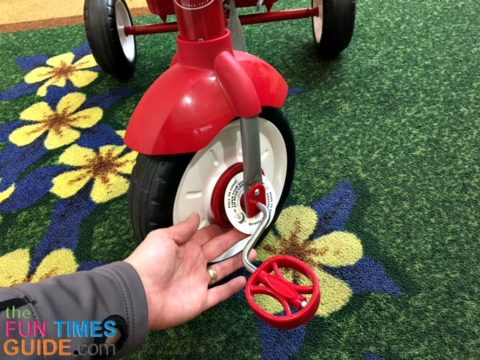 The Radio Flyer pedals are a one-piece mechanism which holds the 2 pedals opposite of each other.