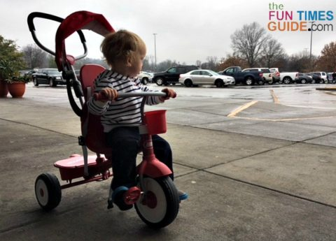 The pedals on the Radio Flyer trike don't ever rest in an ideal position for both feet.