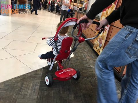 Our first outing with the Radio Flyer trike was our local mall.