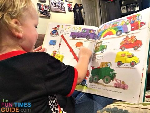 My 2-year-old has become fascinated with this Richard Scarry book -- because of all the cars and trucks in it.