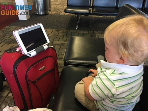 I brought plenty of distraction devices for my toddler's first airplane ride.