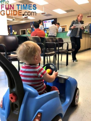 The Step 2 Whisper ride on push car even kept my baby entertained while we waited at the DMV!