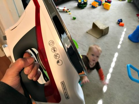 the clothes iron and cord can be dangerous around toddlers