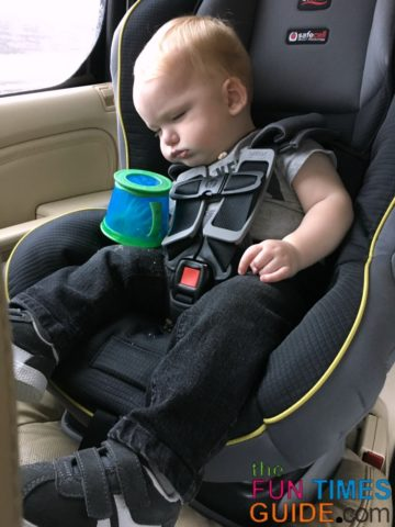 Even if he falls asleep or spills the Munchkin snack cup, all of the contents of the cup don't fall out!