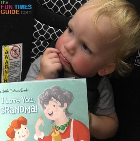 Eager to see his grandma, we read books in the airport during our layovers.