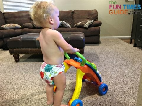 My 16-month-old toddler wearing his Alva Baby cloth diapers.