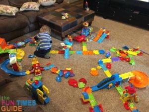 VTech playsets require a LOT of floor space to set up the tracks and play with all the pieces.