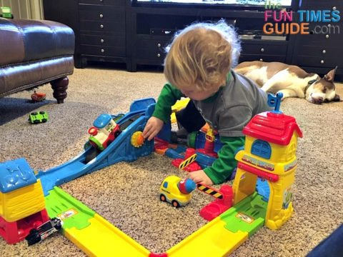 My favorite of all the VTech playsets is the Go Go Smart Wheels train set.